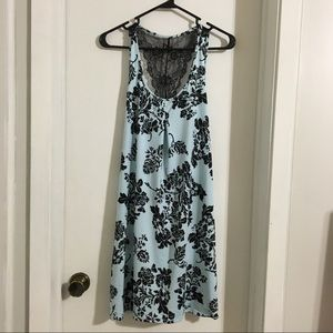Other - Black & Light Blue Lace Floral Night Gown Sz small